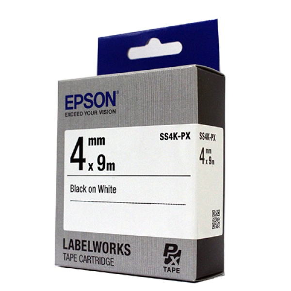 SS4K-PX 라벨테이프 바탕(흰색)/글씨(검정) 4mm