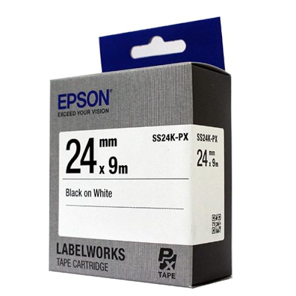 SS24K-PX 라벨테이프 바탕(흰색)/글씨(검정) 24mm
