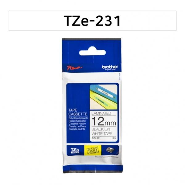 라벨테이프 (TZe-231) 바탕(흰색)/글씨(검정) 12mm