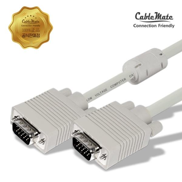 디바이스마트,컴퓨터/모바일/가전 > 네트워크/케이블/컨버터 > 영상 관련 케이블 > D-Sub(RGB) 케이블,,케이블메이트 RGB(VGA) 최고급형 모니터 케이블 [베이지/3M],D-SUB (3+6) 케이블 / 케이블 길이 3M / 노이즈필터