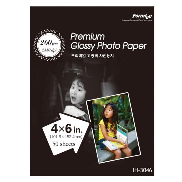 잉크젯전용 포토용지, 프리미엄 고광택, IH-3046 [A6/260g/1권X50매]