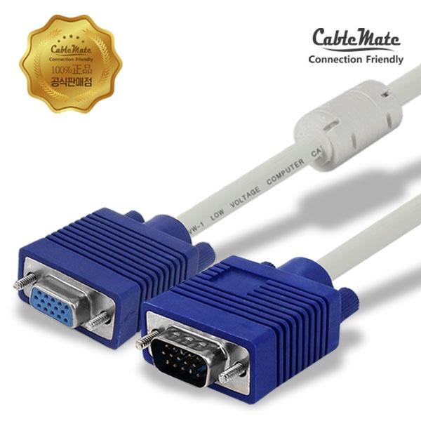 디바이스마트,컴퓨터/모바일/가전 > 네트워크/케이블/컨버터 > 영상 관련 케이블 > D-Sub(RGB) 케이블,,케이블메이트 RGB(VGA) 고급형 모니터 연장 케이블 [베이지/1.8M],D-SUB 연장(M/F) 케이블 / 케이블 길이 1.8M / 노이즈필터