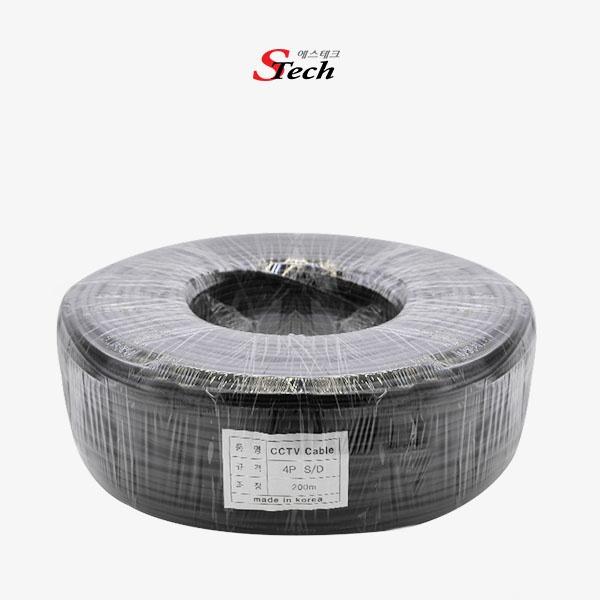 디바이스마트,컴퓨터/모바일/가전 > CCTV/프로젝터/영상장비 > CCTV/네트워크카메라 > 악세사리,,STech 영상/전원/음성/데이터 케이블, 4P 실드 [200M/블랙],CCTV 제작용 케이블 / 일반형 / 4P케이블 / 케이블 길이 200M / 국내제작케이블