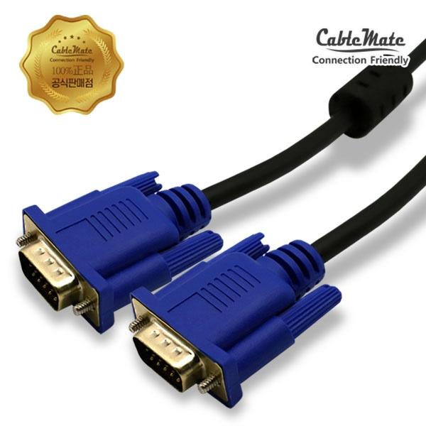 디바이스마트,컴퓨터/모바일/가전 > 네트워크/케이블/컨버터 > 영상 관련 케이블 > D-Sub(RGB) 케이블,,케이블메이트 RGB(VGA) 기본형 모니터 케이블 [블랙/1M],D-SUB (3+4) 케이블 / 케이블 길이 1M / 노이즈필터