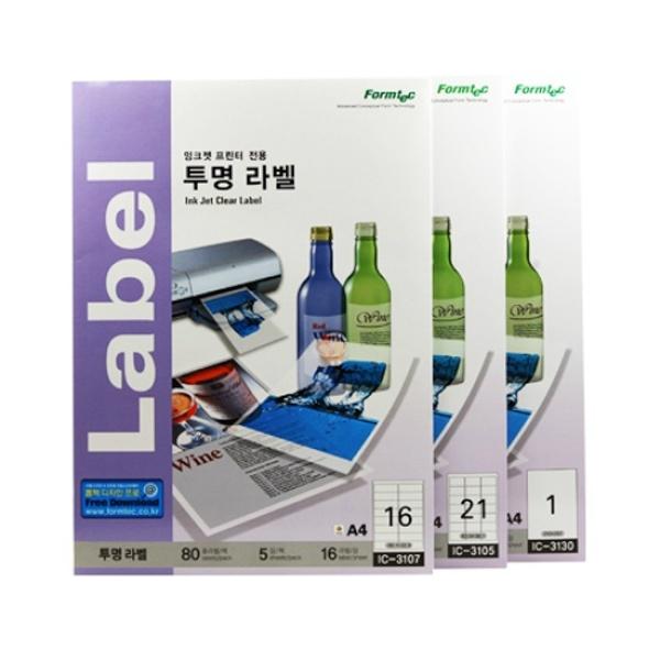 디바이스마트,컴퓨터/모바일/가전 > 잉크/토너/용지/공미디어 > 사무/복사용지 > 폼/롤 라벨지,,투명 필름 라벨지, 잉크젯전용, IC-3107 [16칸/5매] [사이즈:99.1X33.9],라벨용지 / 용지규격: A4 / 라벨칸수: 16칸 / 투명 / 잉크젯 전용 / 크기:99.1 x 33.9mm