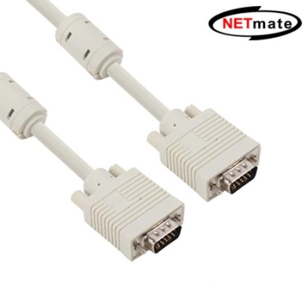 디바이스마트,컴퓨터/모바일/가전 > 네트워크/케이블/컨버터 > 영상 관련 케이블 > D-Sub(RGB) 케이블,,NETmate RGB(VGA) 모니터 케이블 [베이지/7M] [NMC-R70G], RGB 모니터 케이블 7M /VESA DDCI 정규격 케이블/노이즈 흡수 EMI필터 장착