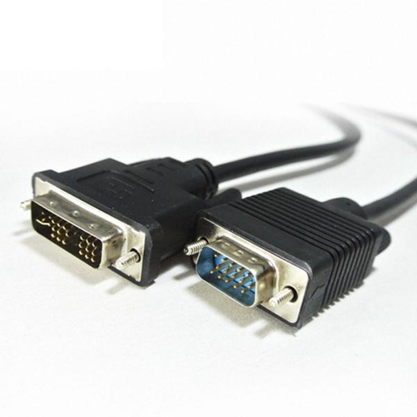 디바이스마트,컴퓨터/모바일/가전 > 네트워크/케이블/컨버터 > 영상 관련 케이블 > DVI 케이블,,HDTOP DVI-I to RGB(VGA) 케이블 5M [HT-HV050],DVI-I to D-SUB(RGB) / 케이블 길이 5M  / 보호캡