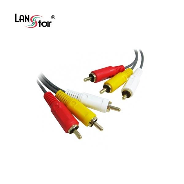 디바이스마트,컴퓨터/모바일/가전 > 네트워크/케이블/컨버터 > 영상/음성 통합 관련 케이블 > RCA3선 케이블,,랜스타 3RCA(M) to 3RCA(M) 케이블 10M [다크그레이 / LS-3RCA-MM-10M],아날로그 음성+영상지원 / 3선 / 케이블길이 10M