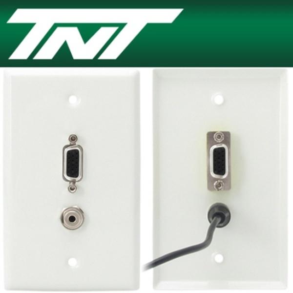 TNT 벽면 플레이트, VGA(RGB) 1포트 + STEREO 1포트, NM-TNT19 [스테인리스]