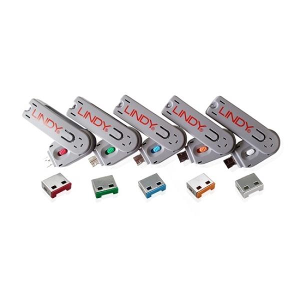 디바이스마트,컴퓨터/모바일/가전 > 노트북/태블릿/주변기기 > 노트북액세서리 > 노트북편의용품,,포트 잠금장치, 스윙형 USB 락, LINDY-40451 [그린/보안키1개+커넥터4개],USB 포트 차단기 / 물리적폐쇄 / 키 1대와 락 4개 기본구성