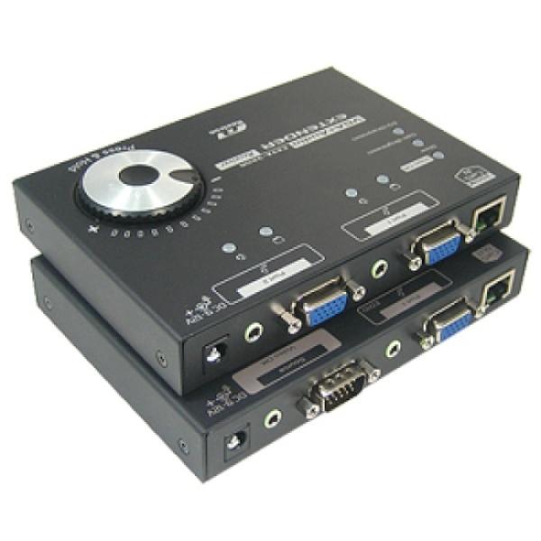 시스라인 VGA 리피터 송수신기 세트, EXVA-12LR [오디오지원/최대300M/RJ-45]