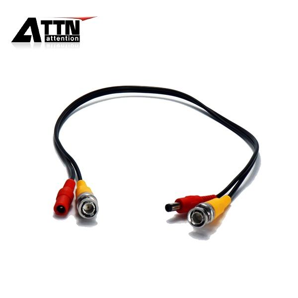 끝단 케이블, BNC+전원M/F [0.4M/일체형/블랙]