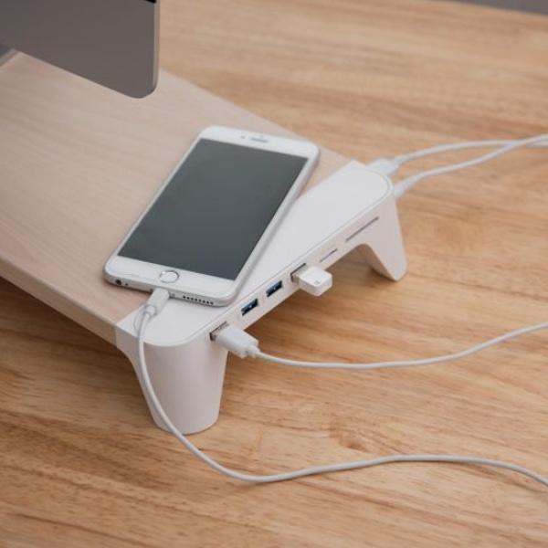 모니터받침대, Pallo Woody-Fast Charging Hub (팔로 우디-페스트 차징 허브) [화이트]