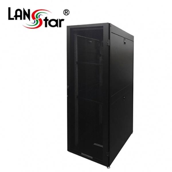 랜스타 타공식 통풍형 서버랙, 블랙|블랙 [LS-2000HSQ] [42U] [조립비포함]