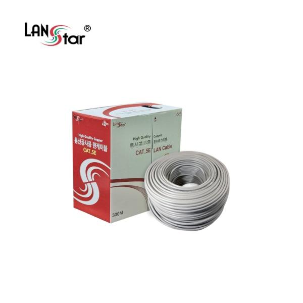 랜스타 CAT.5E UTP 통신공사용 랜케이블 300M [1롤/박스] 그레이 [LS-UTP5H-300MG]