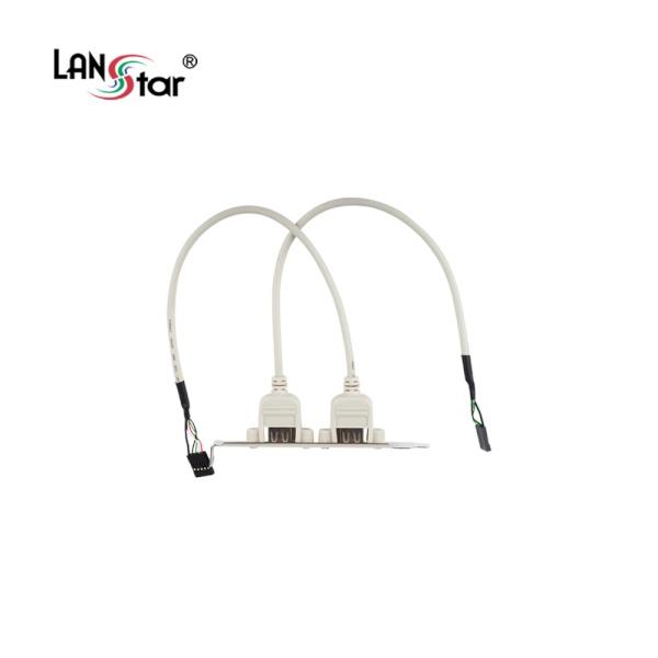 랜스타 USB2.0 확장브라켓/2Port, 4PIN [0.3M/화이트] [LS-USB20G]