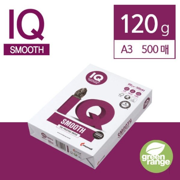 A3 IQ Selection Smooth 복사용지 120g 1권 (500매)