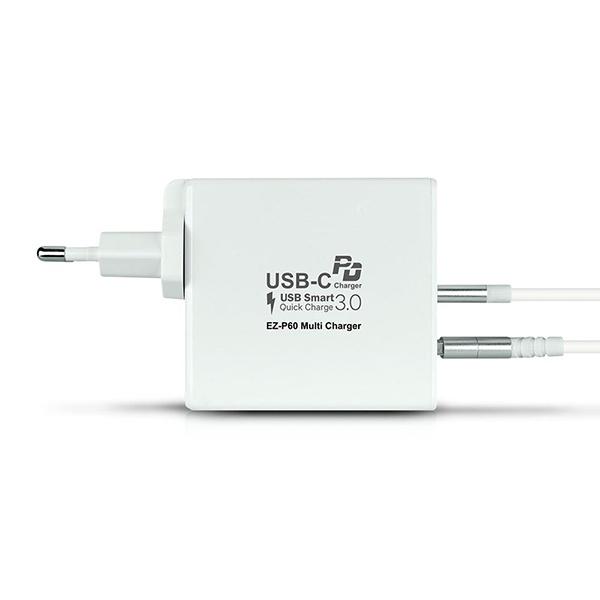 퀵차지3.0+USB-PD 60W 2포트 충전기 EZ-P60