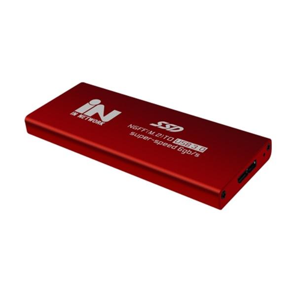 M.2 SATA(NGFF) to USB 3.0 외장하드 알루미늄 케이스 [IN-SSDM2R] [레드]