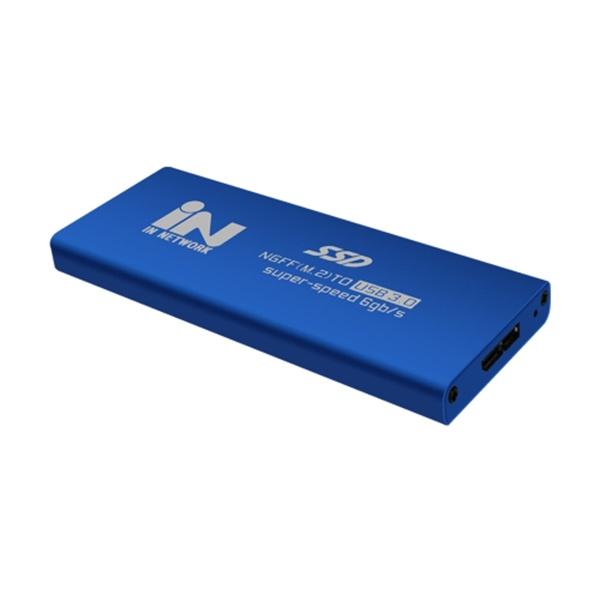 M.2 SATA(NGFF) to USB 3.0 외장하드 알루미늄 케이스 [IN-SSDM2BL] [블루]