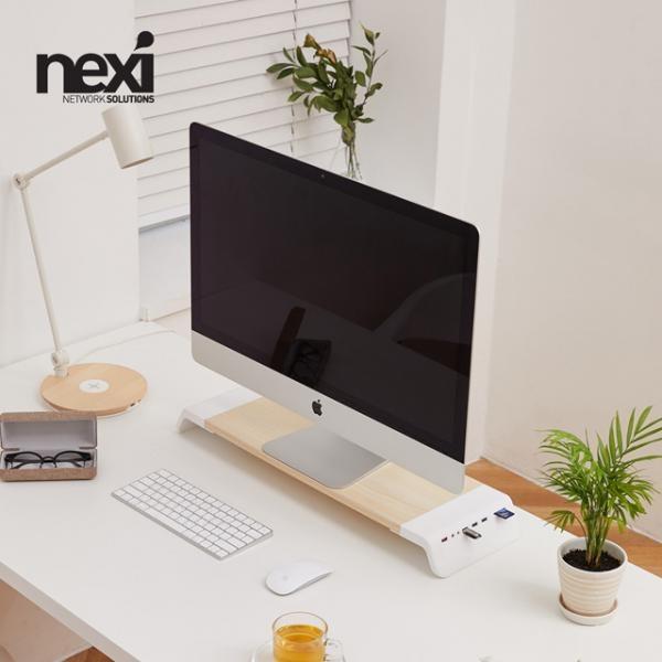 키보드숨김 모니터받침대, NX822 [우드화이트/NX-SMARTMS-02]
