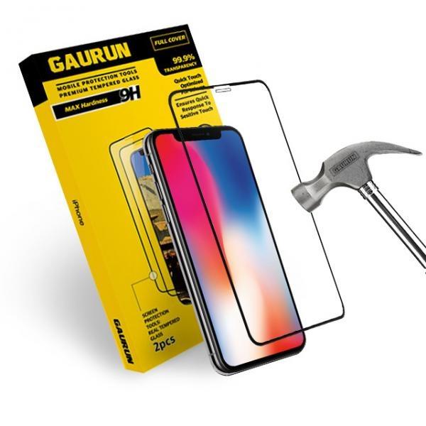 아이폰X 풀커버 2.5D 강화유리 전면 액정보호필름(블랙) 2매