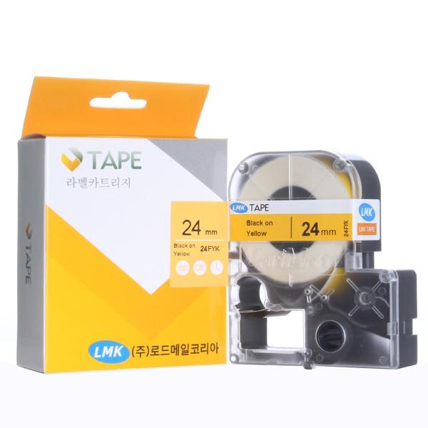 24FYK 라벨테이프 케이블와이어 바탕(노랑) / 글씨(검정) 24mm