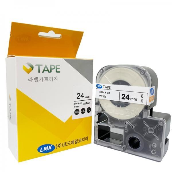 24FWK 라벨테이프 케이블와이어 바탕(흰색) / 글씨(검정) 24mm