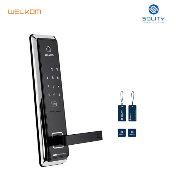 [자가설치]웰콤 WGT330 양문형 유리문 RF카드키4개 디지털도어락 도어록 번호키
