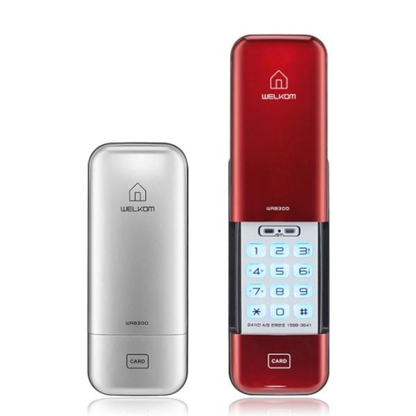 [자가설치]웰콤 WRB300 카드키4개 도어락 디지털도어락 도어록 번호키