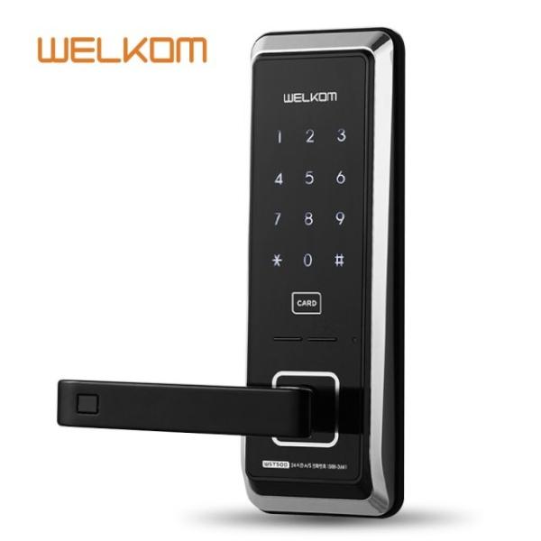 [자가설치]웰콤 WST500 무타공도어락 RF카드키4개 디지털도어락 도어록 번호키