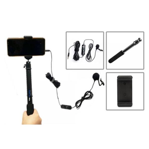 스마트폰 촬영장비 핀마이크 + 거치대 + 985셀카봉[AC-12142]