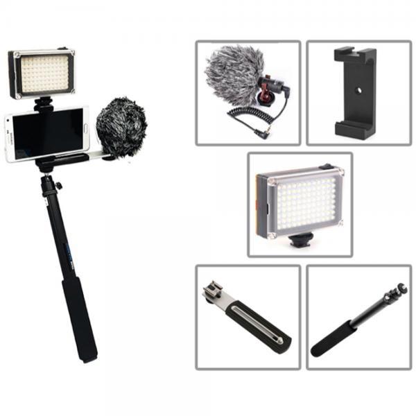 [SMJ][1인방송장비]스마트폰 촬영장비 마이크+핫슈거치대+일자브라켓+라이트+985 [AC-12155]
