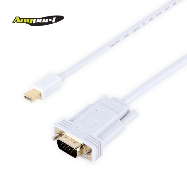 애니포트 Mini DP 1.1 to VGA(RGB) 케이블 [3M/화이트] [AP-MDPVGA030]