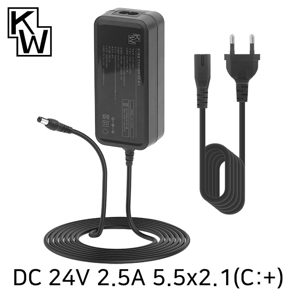 아답터, 100~240V / 24V 2.5A [내경2.1mm/외경5.5mm] KW SMPS 전원 케이블 포함 [박스포장] [KW-A2425A]