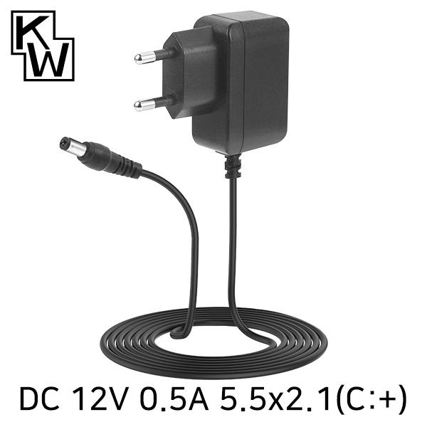 아답터, 100~240V / 12V 0.5A [내경2.1mm/외경5.5mm] KS SMPS 전원 코드 일체형 [박스포장] [KW-A1205A]