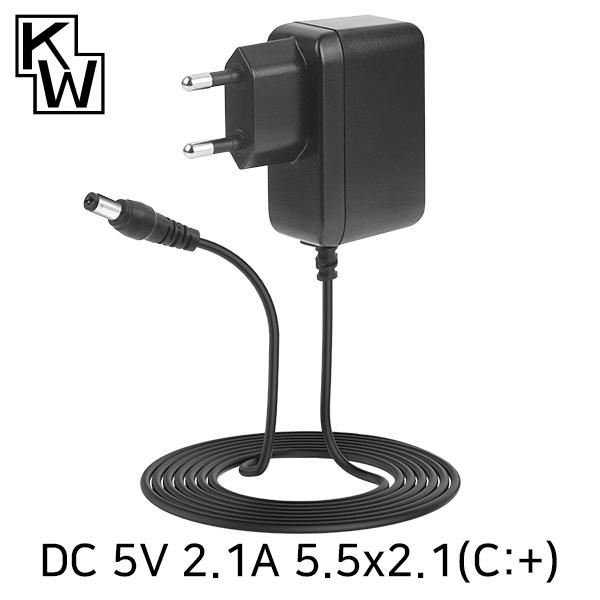 아답터, 100~240V / 5V 2.1A [내경2.1mm/외경5.5mm] SMPS 전원 코드 일체형 [박스포장] [KW-A5021A]