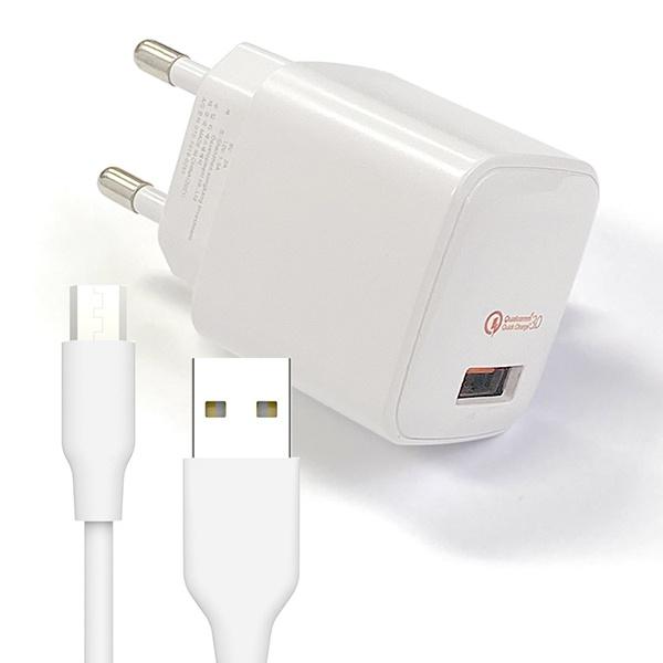 QC3.0 가정용 급속충전기 + 마이크로5핀 200cm케이블