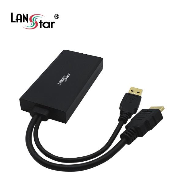 랜스타 HDMI2.0 to DP1.2 컨버터, 오디오 지원 [블랙] [LS-HD2DP]