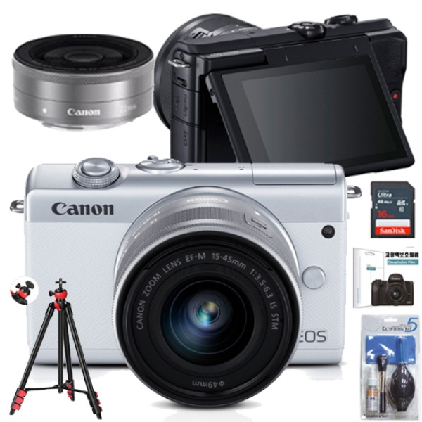 EOS M200+15-45MM IS STM KIT+22MM KIT+LCD보호필름+크리닝킷+볼헤드삼각대+SD128GB 풀패키지
