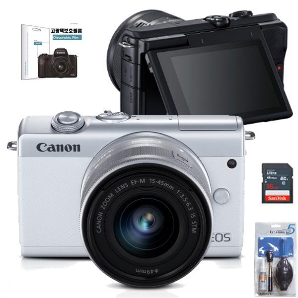 EOS M200+15-45MM IS STM KIT+22MM KIT+LCD보호필름+크리닝킷+SD128GB 풀패키지