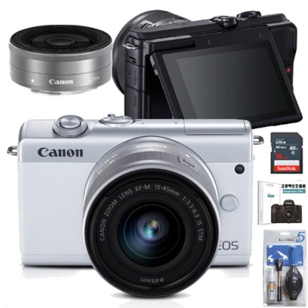 EOS M200+15-45MM IS STM KIT+22MM KIT+LCD보호필름+크리닝킷+SD64GB 풀패키지