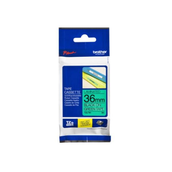TZe-761 라벨테이프 바탕(초록)/글씨(검정) 36mm