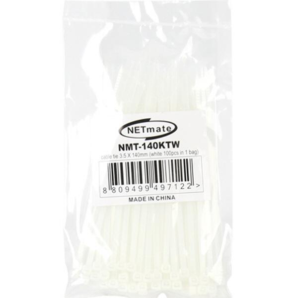 NETmate 케이블타이, 100개, NMT-140KTW [중/140mm] [화이트]