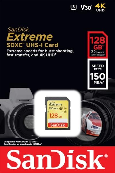 SDHC/XC, Class10, Extreme, UHS-I (U3), V30, c10, 150MBs SDXC 128GB [SDSDXV5-128G]