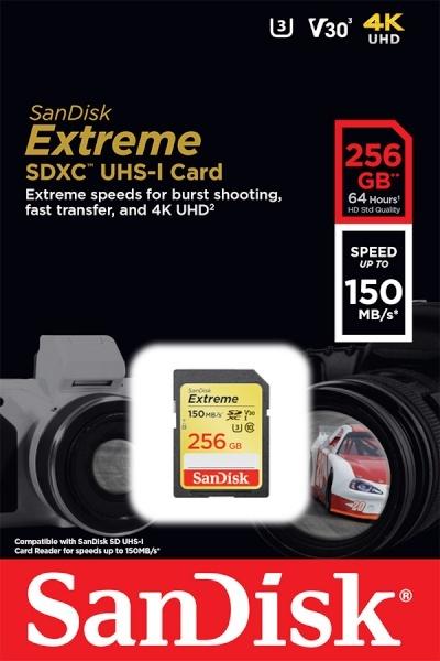 SDHC/XC, Class10, Extreme, UHS-I (U3), V30, c10, 150MBs SDXC 256GB [SDSDXV5-256G]
