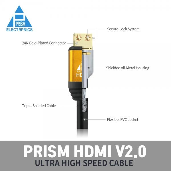 프리즘일렉트로닉스 HDMI 골드메탈 락킹케이블 [Ver2.0] 3M [PR-HD03G]