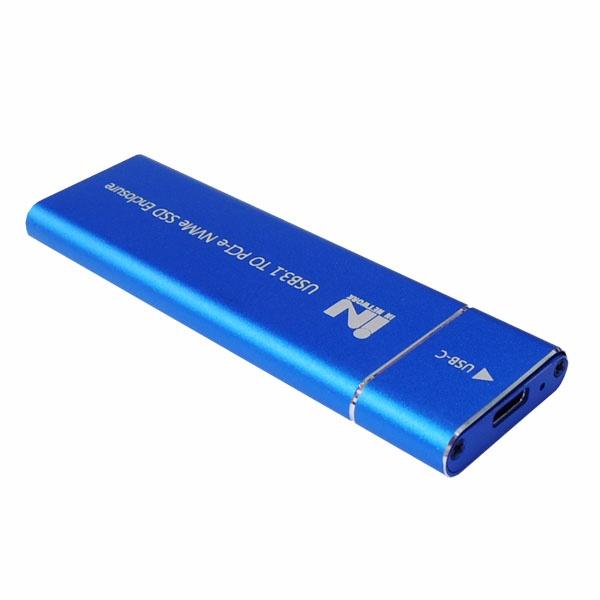 외장SSD 케이스, IN-SSDM2A  [M.2 NVMe SSD 케이스/USB3.1 Gen2] [블루]