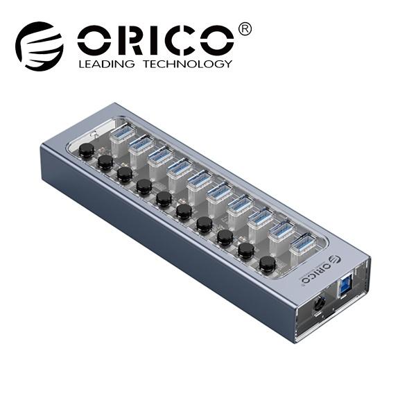 오리코 AT2U3-10AB (USB3.0허브/10포트/유전원) [그레이/투명][아답터 포함]