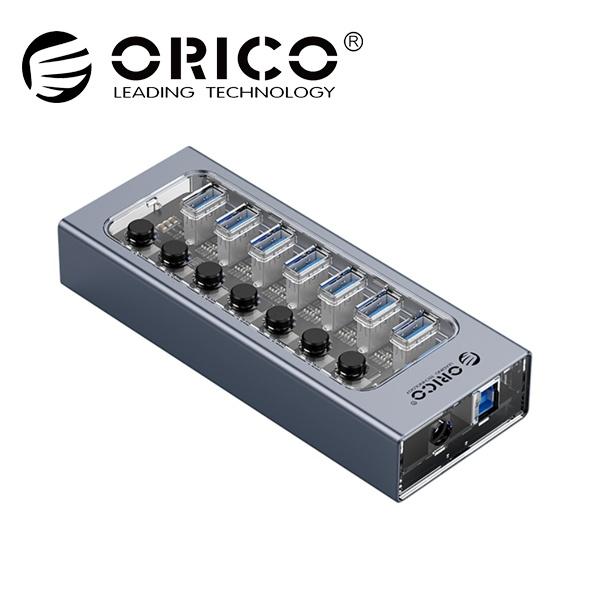 오리코 AT2U3-7AB (USB3.0허브/7포트/유전원) [그레이/투명][아답터 포함]